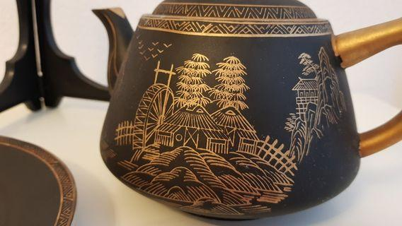 Antique collectable japanese teapot & plate