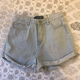 Light Denim High Waisted Shorts