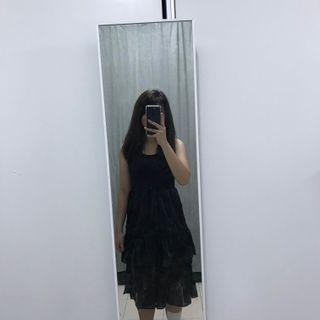 INS Black two tiered spaghetti strapped dress