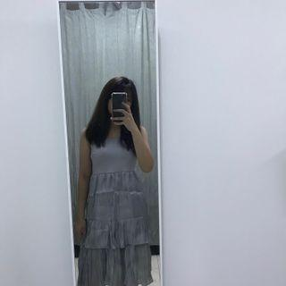 INS silver two tiered spaghetti strapped dress