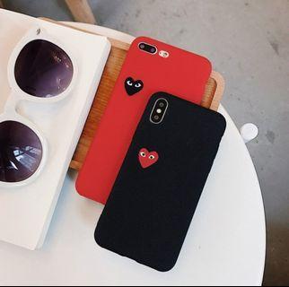 S8+ S8 PLUS黑底紅愛心磨砂全包軟殼❤