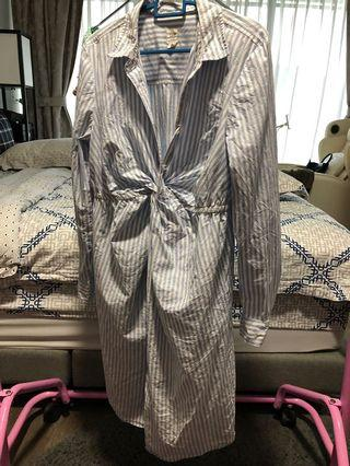 🚚 Maternity striped shirt-dress with twist knot details