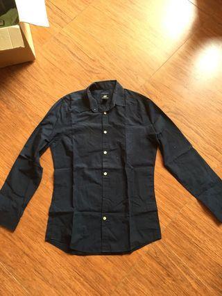 H&M Easy Iron Navy Shirt