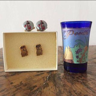 Golden owls / brandy cuff links