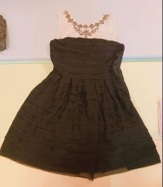 Little black dress prom party sparkle crystal glitter ruffle tulle