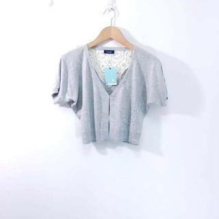 【專櫃品牌】b.club縷空繡花拼接棉質短版外套