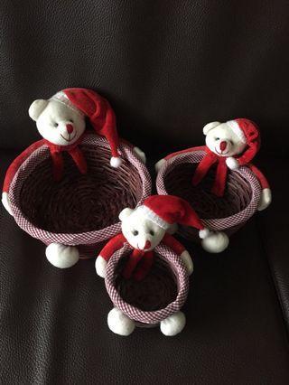 [二手]聖誕熊置物籃 竹編收納籃 編織籃 大中小合售 可愛小熊首飾小物收納籃