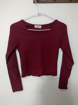Mothing betier 紅色 酒紅 長袖 針織 短版 上衣 圓領 韓國製造