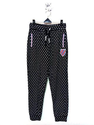 🚚 M號 K•SWISS 約28-29腰 黑底色 鬆緊帶 縮口棉褲 (190416)