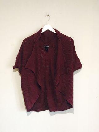 Forever 21 Lovely Burgundy Short Sleeve Asymmetrical Knit Cardigan
