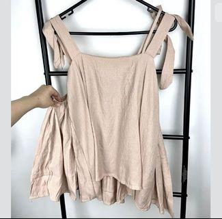 Dusty pink S/M korea style pastel cute kawaii cold shoulder top shirt blouse