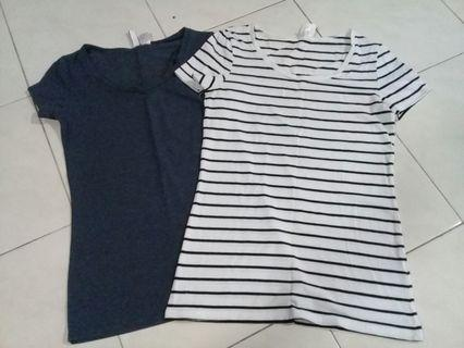 H&M Plain and Stripes Tops Combo
