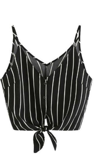 Stripe self tie crop button Cami top