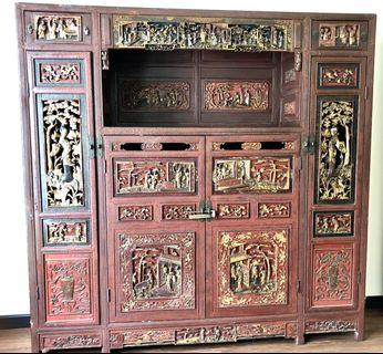 Large Antique Profusely Carved Gilded Oriental Cabinet