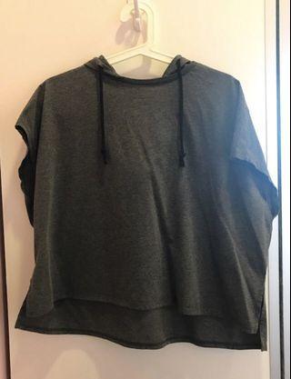 grey women's short sleeved hoodie