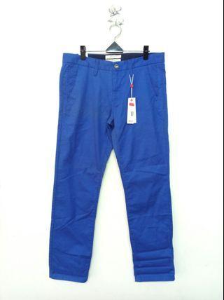 34-35腰 藍色修身 斜口袋 長褲 (190418)