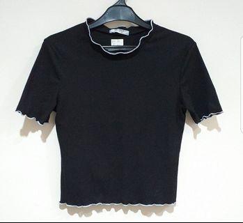 Zara Black Ribbed Top