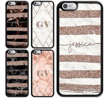 [PO] Custom Personalized Name Geometric Marble Phone Casing for iPhones