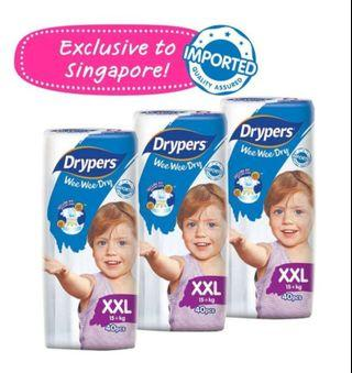 🚚 Brand new drypers XXL diapers 4 packs of 40 pcs each