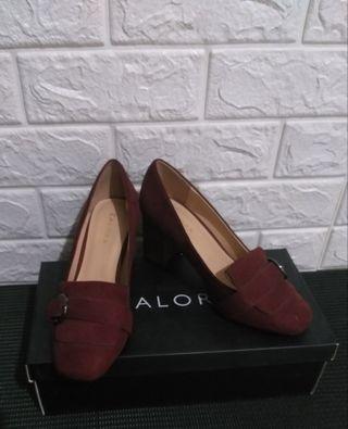 Zalora - Block Heel Loafers Maroon