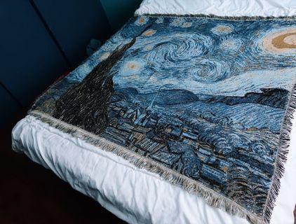 🇳🇱 荷蘭畫家 梵谷「星空下的畫布」線毯 萬用毯 掛布 軟毯 沙發巾 野餐巾 地毯 露營 野餐 毯子