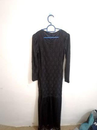 Lace Long Dress Black (REDUCED)