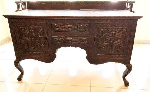 Antique Profusely Dragon Cabinet