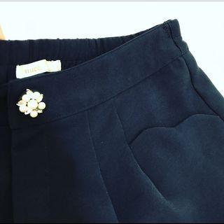 日標 nuee 藏藍色短褲 Fsize 荷邊口袋 日系