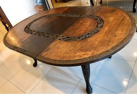 Antique Dragon Carved Dining Table (Extendable)