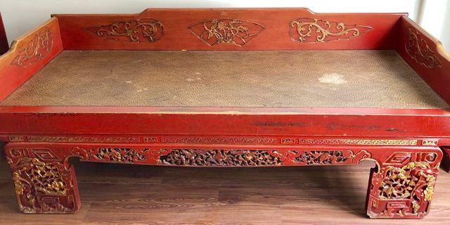 Antique Carved Opium Bed