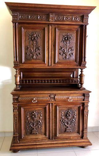 Antique Carved Hall Cabinet
