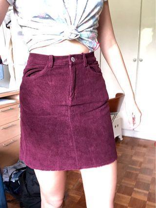 Brandy Melville Juliette red corduroy skirt