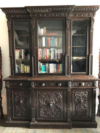Antique Fully Carved Solid Oak Bookcase