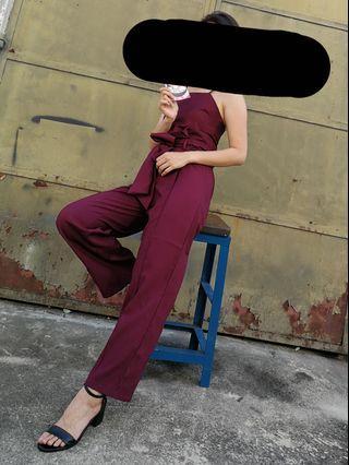 Wine red 2pcs Jumpsuit