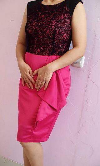 Black Pink brokat dress #maujam