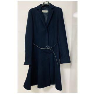 🚚 現貨/實拍【SPORTMAX】西裝羊毛皮帶大衣-深藍色