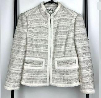Forever New sz 6 white beige silver tweed jacket coat fashion winter wool blend