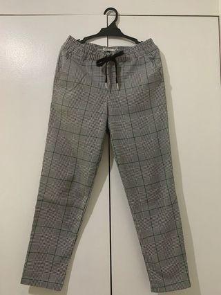 H&M LOGG Drawstring Glen Plaid Trousers