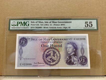 🚚 Isle Of Man 25b 1 Pound 1961 PMG 55