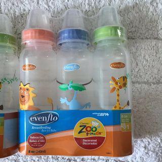 BN Evenflo Baby Bottles Slow Flow Teats for 0-3 mths Zoo Design ( Set of 3) BPA free