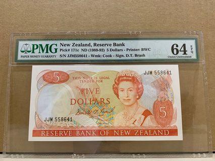 New Zealand 171c 5 Dollars 1989-92 PMG 64 EPQ