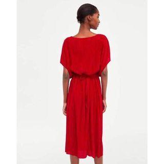 ZARA 紅色連身綁帶洋裝 不限身材