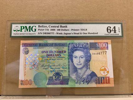 🚚 Belize 71b 100 Dollars 2006 PMG 64 EPQ