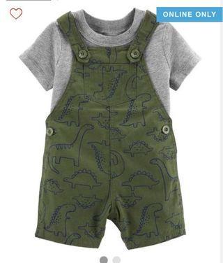 BN Carters Baby Boy Dinosaur 2 Piece Jumpsuit Set 18mths & 24mths avail!