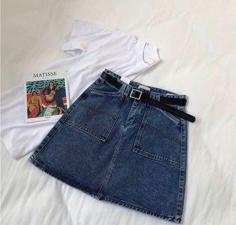 BNWT Denim Skirt with Belt!