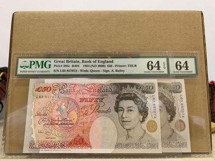 🚚 Great Britain 388c 50 Pounds 1994 PMG 64 & 64 EPQ Consecutive