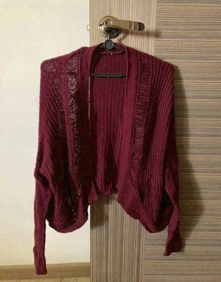 Maroon Knitted Outerwear