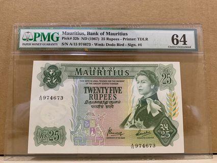 Mauritius 32b 25 Rupees 1967 PMG 64