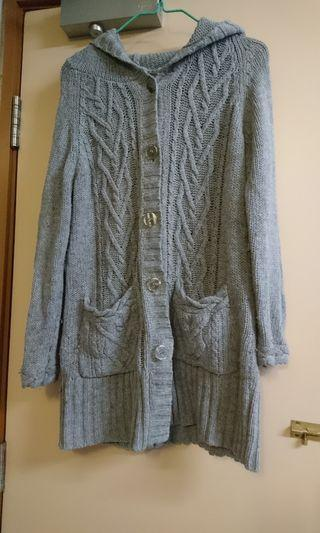 灰色針織冷外套 附腰帶 顯瘦