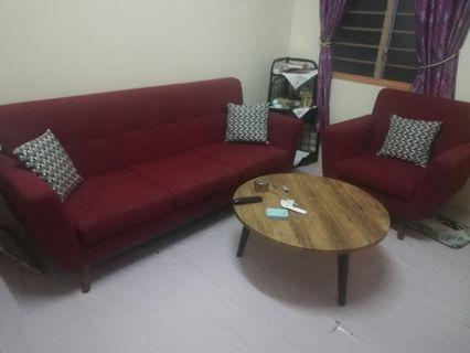 Sofa 3 seater + 2 seater + table